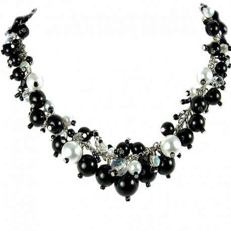 Fashion Statement Costume Jewellery, Black Illusion Pearl Cluster Necklace