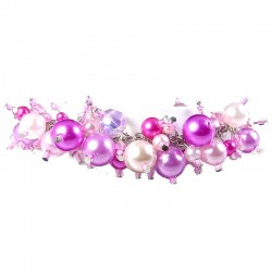Pink Illusion Pearl Charm Cluster Dangle Bracelet