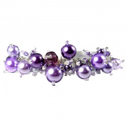 Fashion Statement Costume Jewellery, Purple Illusion Pearl Charm Cluster Dangle Bracelet