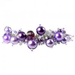 Fashion Statement Costume Jewellery, Purple Illusion Pearl Charm Cluster Dangle Bracelet