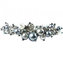 Fashion Statement Costume Jewellery, Grey Illusion Pearl Charm Cluster Dangle Bracelet