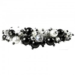 Fashion Statement Costume Jewellery, Black Illusion Pearl Charm Cluster Dangle Bracelet
