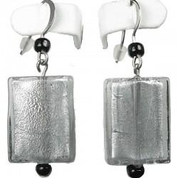 Fashion Costume Jewellery, Women's Gift, Grey Rectangle Glass Bead Drop Earrings