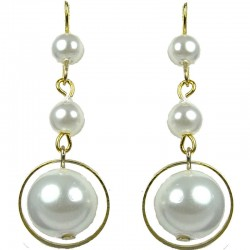 Gold Plated White Pearl Drop Earrings