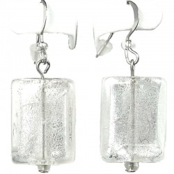 Fashion Women's Costume jewellery Gift, White Rectangle Glass Bead Drop Earrings
