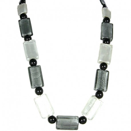 Fashion Costume Jewellery, White Monochrome Large Rectangle Glass Bead Long Necklace