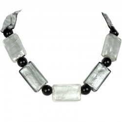 White Monochrome Large Rectangle Glass Bead Necklace