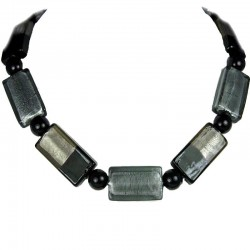 Black Monochrome Large Rectangle Glass Bead Necklace