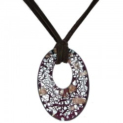 Brown & Silver Murano Glass Oval Loop Cord Necklace