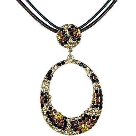 Fashion Pendant Costume Jewellery, Brown Monochrome Diamante Animal Print Loop Cord Necklace