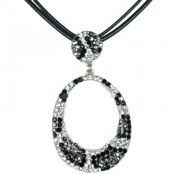Trendy Costume Jewellery, Fashion Women's Gift, Monochrome Diamante Animal Print Loop Cord Necklace