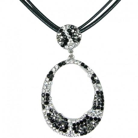Trendy Costume Jewellery, Fashion Women's Gift, Monochrome Diamante Animal Print Loop Cord Necklace
