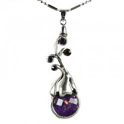 Costume Jewellery Gift, Women's Fashion Necklace, Purple Elegant Flower Teardrop Pendant