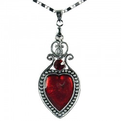 Women's Fashion Jewellery, Girls Gift, Costume Necklace, Red Enamel Heart Pendant with chain