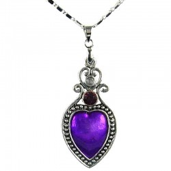 Women's Fashion Jewellery, Girls Gifts, Costume Necklace, Purple Enamel Heart Pendant with Chain