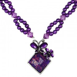 Fashion Women's Costume Jewellery Gift, Purple Enamel Butterfly Lozenge Pearl Necklace