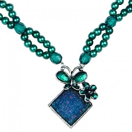 Fashion Women's Coatume Jewellery Gift, Green Enamel Butterfly Lozenge Pearl Necklace