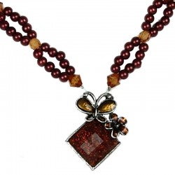 Brown Enamel Butterfly Lozenge Pearl Necklace