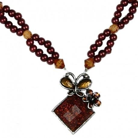 Fashion women's Costume Jewellery, Brown Enamel Butterfly Lozenge Pearl Necklace