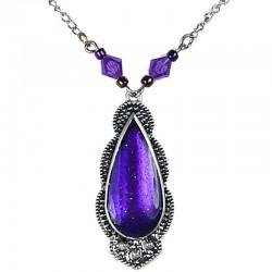 Fashion Women's Costume Jewellery, Thank you Gift, Purple Enamel Teardrop Bead & Chain Fashion Necklace