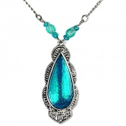 Aqua Blue Enamel Teardrop Bead & Chain Fashion Necklace