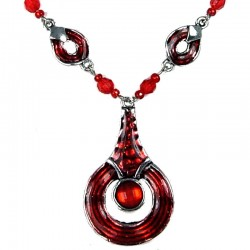 Red Enamel Circle Drop Chain Fashion Necklace