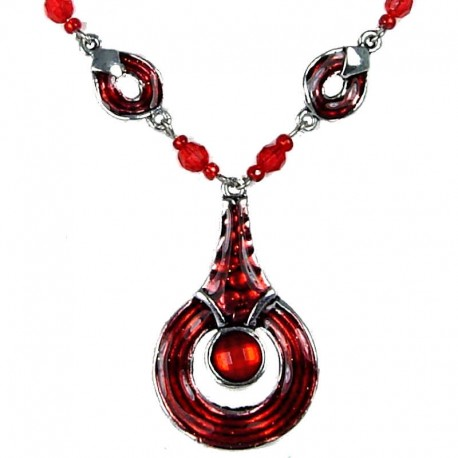 Everyday Costume Jewellery, Women's Girls Gift, Red Enamel Circle Drop Chain Fashion Necklace