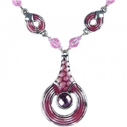Pink Enamel Circle Drop Chain Fashion Necklace