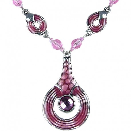 Women's Gift, Girls Costume Everyday Jewellery, Pink Enamel Circle Drop Chain Fashion Necklace