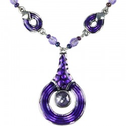 Everyday Costume jewellery, Women's Girls Gift, Purple Enamel Circle Drop Chain Fashion Necklace