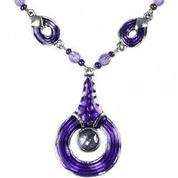 Purple Enamel Circle Drop Chain Fashion Necklace
