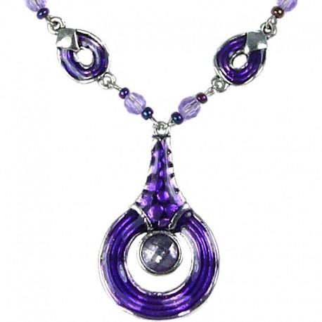 Everyday Costume jewellery, Women's Girls Gift, Purple Enamel Circle Drop Chain Fashion Necklace