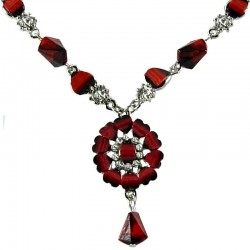 Burgundy Rhinestone Marigold Fashion Flower Dangle Necklace