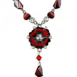 Burgundy Rhinestone Poppy Fashion Flower Dangle Necklace
