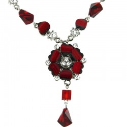 Hot Burgundy Rhinestone Poppy Fashion Flower Dangle Necklace