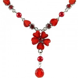 Hot Red Rhinestone Hibiscus Fashion Flower Drop Necklace