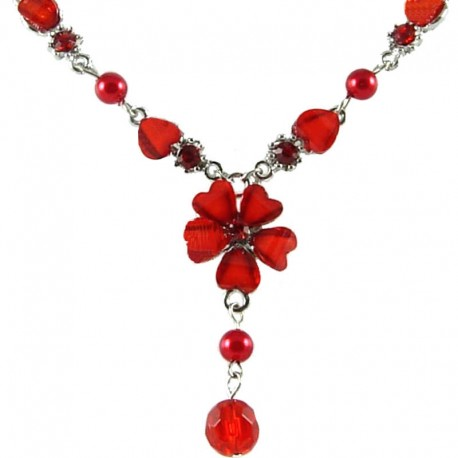 Costume Jewellery, Women's Gifts, Hot Red Rhinestone Hibiscus Fashion Flower Drop Necklace