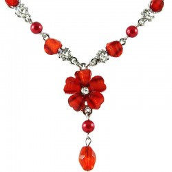 Women's Costume Jewellery, Red Rhinestone & Clear Diamante Hibiscus Fashion Flower Dangle Necklace