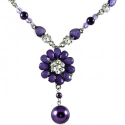 Women's Costume Jewellery, Girls Gift, Purple Diamante Chrysanthemum Fashion Flower Dangle Necklace