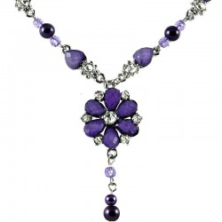 Purple Rhinestone Daisy Fashion Flower Dangle Necklace