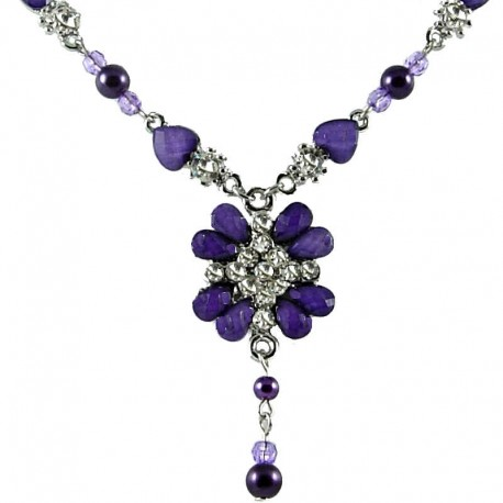 Women's Costume Jewellery, Girls Gifts, Purple Diamante Peony Fashion Flower Dangle Necklace