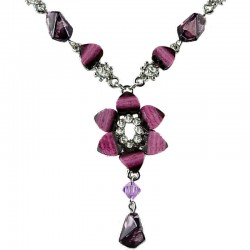 Fuchsia Rhinestone Lily Fashion Fashion Flower Dangle Necklace