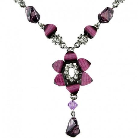 Girls Pink Costume Jewellery, Women's Gift, Fuchsia Rhinestone Lily Fashion Fashion Flower Dangle Necklace