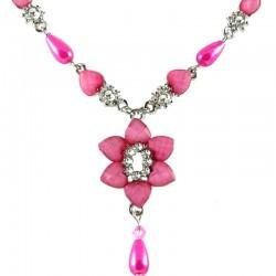 Dark Pink Rhinestone Lily Fashion Flower Dangle Necklace