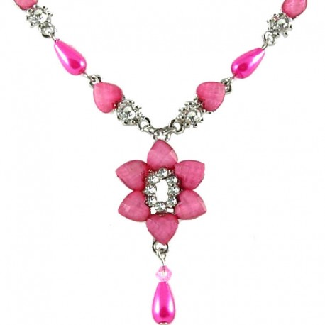 Women's Gift, Girls Costume Jewellery, Dark Pink Rhinestone Lily Fashion Flower Dangle Necklace