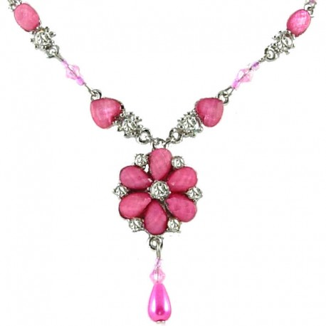 Women's Gift, Girls Costume Jewellery, Dark Pink Rhinestone Daisy Fashion Flower Dangle Necklace