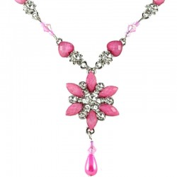 Pink Rhinestone Iris Cristata Fashion Flower Dangle Necklace