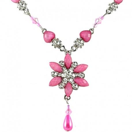 Girls Costume Jewellery, women's Gift, Pink Rhinestone Iris Cristata Fashion Flower Dangle Necklace