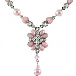 Soft Pink Rhinestone Peony Fashion Flower Dangle Necklace