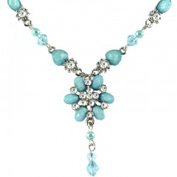 Light Blue Rhinestone Fistulosa Fashion Flower Dangle Necklace